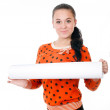 Young girl with a big roll of paper — Stock Photo