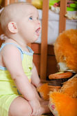 Infant baby playing on the floor at home — Stock Photo