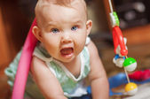 Little baby playing with toys at home — Stock Photo