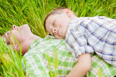 Father and boy in nature — Stock Photo