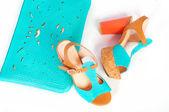 Summer beautiful high heels and handbag — Stock Photo