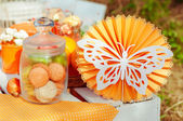 Orange picnic with oranges flowers and cupcakes — Stockfoto