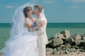 Young and beautiful bride and groom on the beach — Stock Photo
