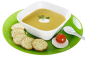 Vegetable cream soup with crackers — Stock Photo