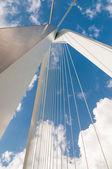 Detail of Erasmus bridge with blue sky in Rotterdam, The Netherl — Stok fotoğraf