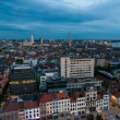 Aerial view to the center of Antwerp from the roof — Stock Photo