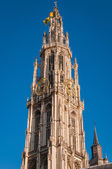 Details of asymmetric tower Cathedral Of Our Lady in Antwerp — Stock Photo