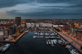Aerial view to the harbor of Antwerp from the roof — Stock Photo