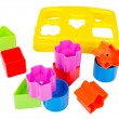 Shape sorter toy with various coloured blocks isolated — Stock Photo #45126871