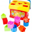 Shape sorter toy with various coloured blocks isolated — Stock Photo #45126893