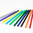 Diagonal fragment of opened colorful markers — Stock Photo #22093151