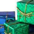 Blue and green wrapped gifts — Stock Photo