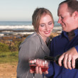Stock Photo: Young adult Caucasicouple drinking wine