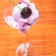 Pink and white cherry Ice-cream with syrup in a tall glass — 图库照片
