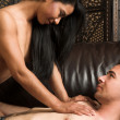 Multi-ethnic couple in passionate embrace — 图库照片