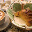 Stock Photo: Coffee and Croissant in French Patisserie