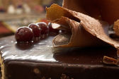 Glazed Chocolate cake and Cherries in a French Patisserie and Chocolaterie — Stock Photo