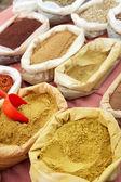 Мешки сухого молотого перца и порошок карри изготовляют из рынка — Стоковое фото