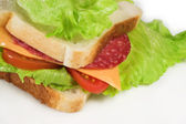 A salami, cheese, tomato and lettuce sandwich — Stock Photo