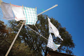 Tea towels on the washing line, blowing in the wind — Stock Photo