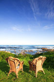 Wicker cane chairs on a lawn next to the sea — Stock Photo