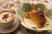 Coffee and Croissant in a French Patisserie — Stock Photo