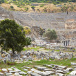 The old graveyard at the foot of the Amphitheater next to the Golden Highway at the old ruins of the city of Ephesus — Stock Photo
