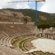 Large Blue Crane reconstructing remains of large Amphitheater — Stock Photo #22100587