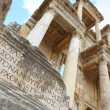 Remains and statues of enormous Library of Celsus in city of Ephesus in modern day Turkey — Stock Photo #22100991