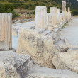Pillars and collumns next to main road in old ruins of city of Ephesus in modern day Turkey — Stock Photo #22102963