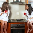 Sexy young adult brunette roommates — Stock Photo