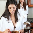 Sexy young adult brunette roommates — Stock Photo #22103777
