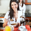 Sexy young adult brunette roommates — Stock Photo #22103877