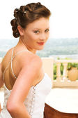 Young beautiful brunette bride — Stock Photo