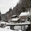 Small Snowcovered firewood barn in the German Alps - 图库照片