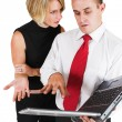 Two business partners working on laptop — Stock Photo