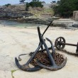 Anchors and anchor chains on Hermanus Harbour, South Africa - Stock Photo