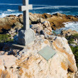 Old stone Grave in the shape of a cross — Stock Photo