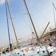 Stock Photo: Yachts in harbor (Port Le Vieux) in Cannes, France.
