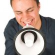Man with Megaphone. — Stock Photo