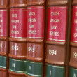Legal Library in wooden bookcase - South African Law Reports - Stock Photo