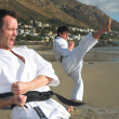 Young adult men with black belt practicing a Kata — Stockfoto