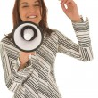 Woman trying to speak on megaphone — Stock Photo