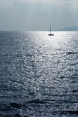 Single sailboat on the Mediterranean Sea — Stock Photo