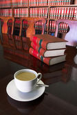 White Coffee cup with Legal Library — Stock Photo