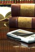 Legal books on table — Stockfoto