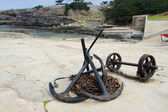 Anker und ankerketten am hafen von hermanus, südafrika — Stockfoto