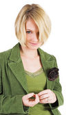 Business woman green jacket, smiling — Stok fotoğraf