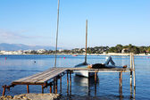 A person on a pier in Antibes, France — Stock Photo