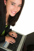 Business woman with brown hair Holding a laptop — Photo